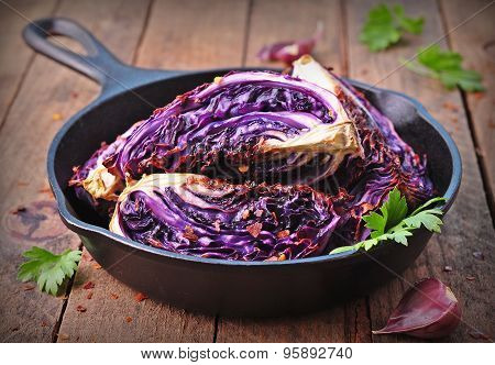 red cabbage baked in olive oil with chili pepper flakes and sea salt. vegetarian food. image is tint