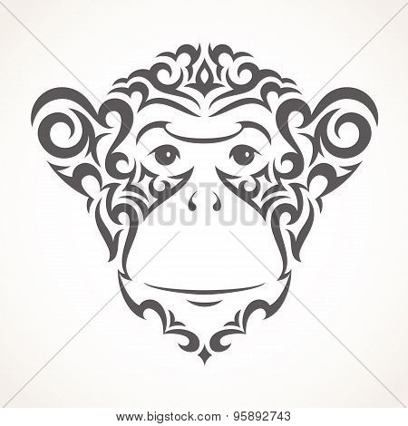 Vector illustration of monkey. Tribal style.