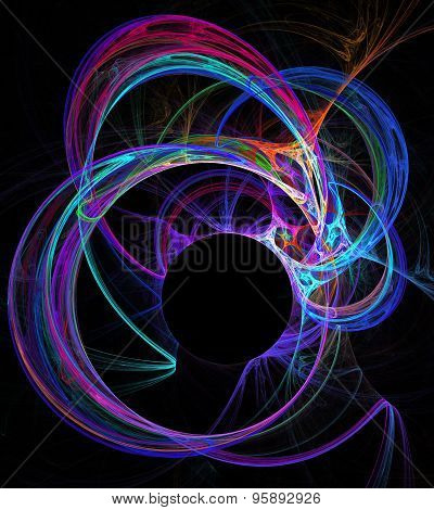 Illustration Background Fractal Abstraction Neon Circles And Cop