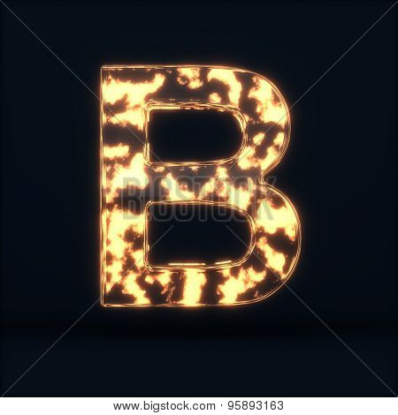 Glass Glowing Fire Letter B Symbol