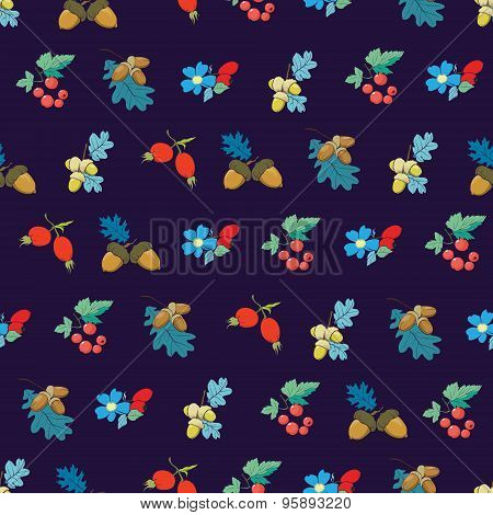 Vector Dark Blue Colorful Berries Nuts Seamless Pattern
