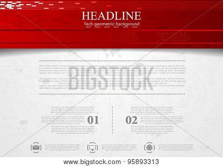 Tech corporate background with red header. Vector design