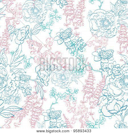 Vector Detailed Kimono Flowers Drawing Seamless Pattern