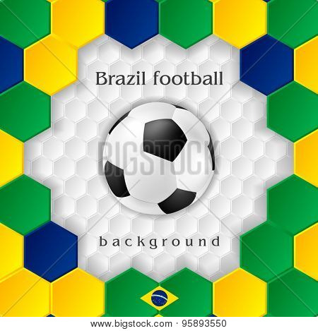 Bright soccer background with ball. Brazilian colors. Vector design