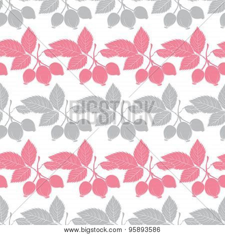 Vector Gray Pink Rosehip Berries Stripes Seamless Pattern