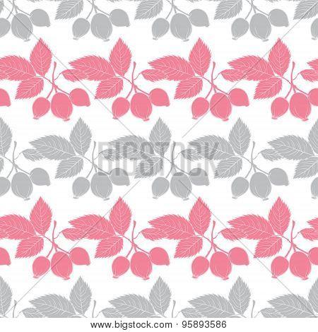 Vector Gray Pink Rosehip Berries Stripes Seamless Pattern