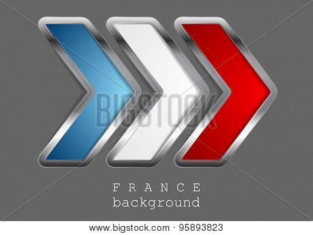 Abstract modern metallic arrow. French colors. Vector background