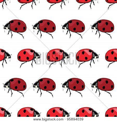 Vector Red Black Ladybird Stripes Seamless Pattern