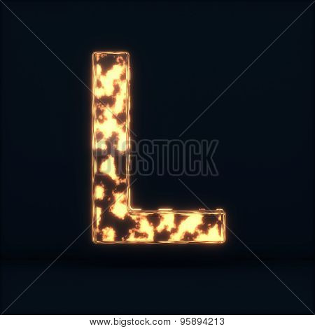 Glass Glowing Fire Letter L Symbol