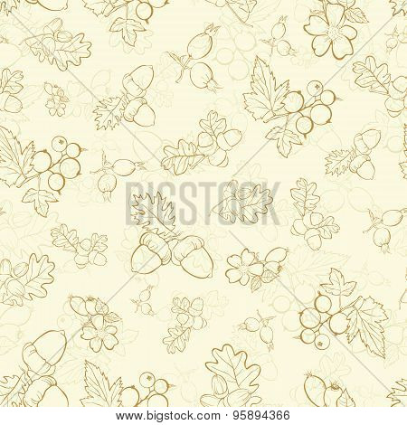 Vector Vintage Beige Berries Nuts Drawing Seamless Pattern