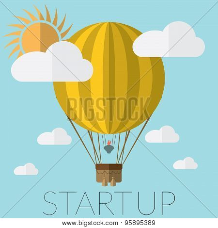 Flat Design Modern Vector Illustration Of A Hot Air Balloon Concept For New Business Project Startup