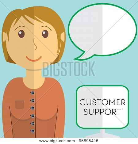 Flat Design Modern Vector Illustration Concept Of Customer Support Manager With Speach Bubble, On Co