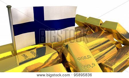 Finland economy concept with gold bullion