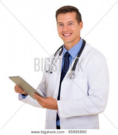 smiling doctor using tablet computer isolated on white background