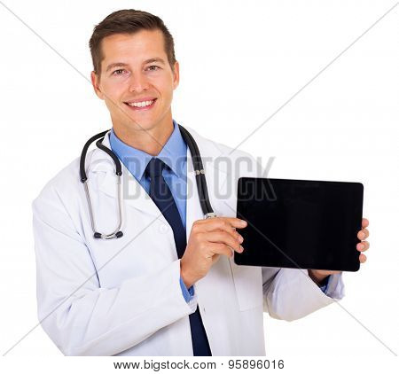 happy doctor showing tablet computer blank screen
