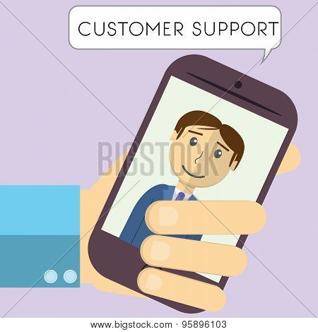 Flat Design Modern Vector Illustration Of Customer Support Manager With Speech Bubble In Mobile Phon