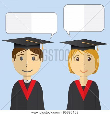 Flat Design Modern Vector Illustration Of Students In Graduation Gowns On Color Background