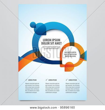 Vector business brochure, flyer template. Modern orange and blue corporate design.
