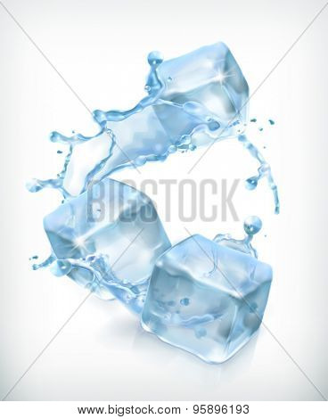 Ice cubes and a splash of water, cocktail vector illustration