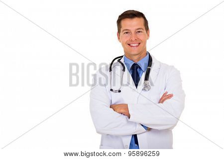 portrait of male doctor isolated on white background