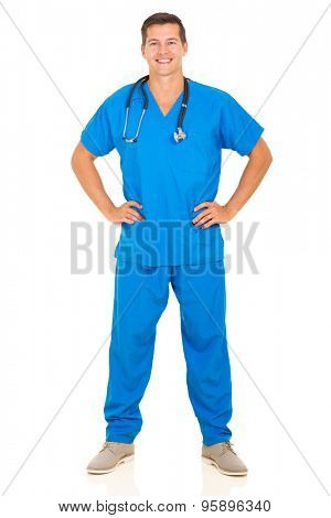 full length portrait of happy doctor standing on white background