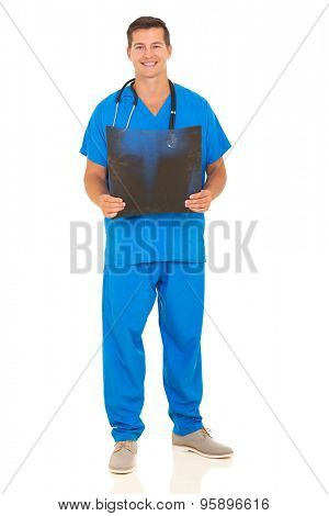 handsome male nurse holding patient's x-ray on white background