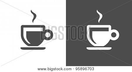 Espresso icon. Two-tone version of espresso vector icon on white and black background