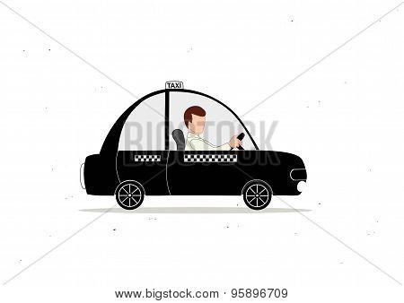 Black Taxi Car And Taxi Driver
