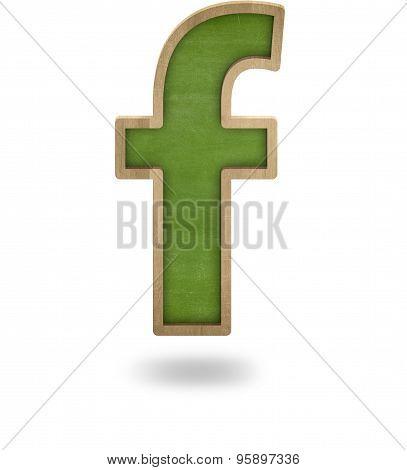 Green blank letter f shape blackboard