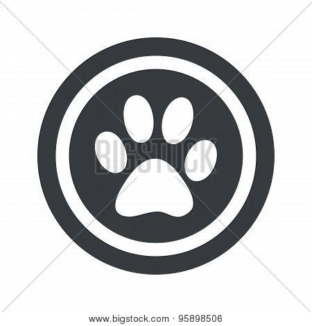 Round black paw sign