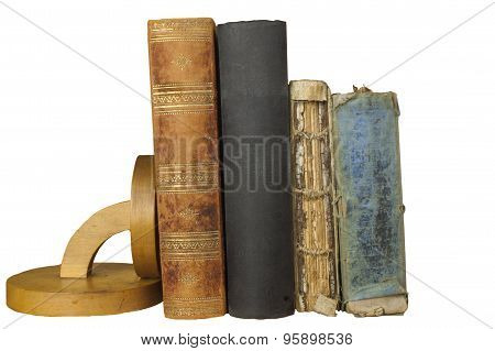 Front view of old book stacked