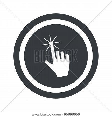 Round black hand cursor sign