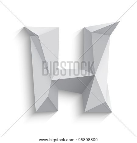 Vector illustration of 3d letter H on white background.
