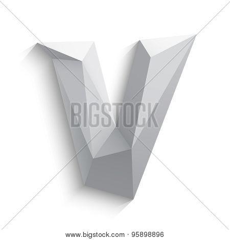 Vector illustration of 3d letter V on white background.