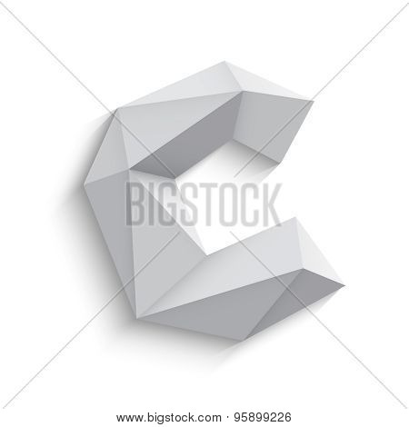 Vector illustration of 3d letter C on white background.