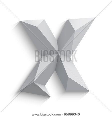Vector illustration of 3d letter X on white background.