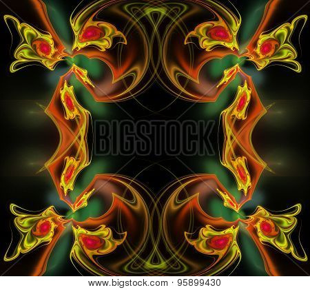 Fractal Illustration Background Frame With Roses And Leaves