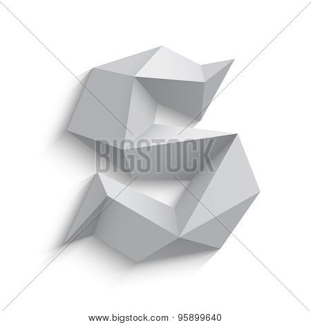 Vector illustration of 3d letter S on white background.