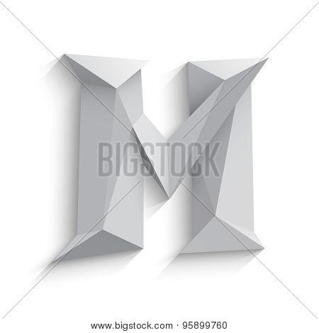 Vector illustration of 3d letter M on white background.