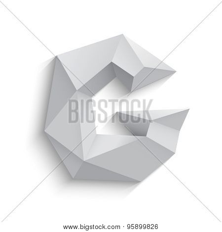 Vector illustration of 3d letter G on white background.