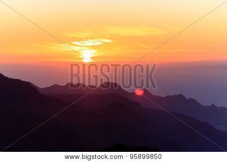 Mountains Inspirational Sunset Landscape, Islands And Ocean