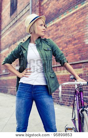 Hipster Woman With Vintage Road Bike On City Street