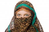 stock photo of burqa  - Woman wearing traditional clothing on white - JPG
