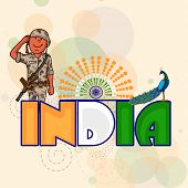stock photo of indian independence day  - National tricolor text India with peacock and young saluting soldier on Ashoka Wheel decorated background for Indian Independence Day celebration - JPG
