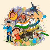 image of indian independence day  - Creative illustration showing Indian strength with cute little kids celebrating Independence Day on grungy color splash background - JPG