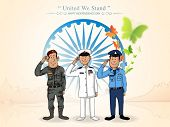 picture of indian independence day  - Illustration of saluting Indian force officers in front of Ashoka Wheel for Indian Independence Day celebration - JPG