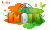 picture of indian independence day  - Glossy 3D tricolor text India on Ashoka Wheel and butterflies decorated background for Indian Independence Day celebration - JPG