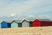 stock photo of beach hut  - Beach Huts on Hayling Island, South Coast, UK
