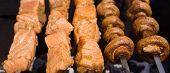pic of salmon steak  - Grilled salmon steaks on the grill - JPG