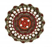 image of precious stone  - fractal illustration of a brooch of silver with precious stones - JPG